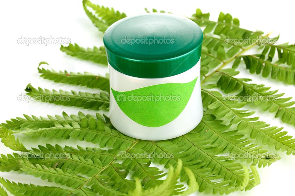 Jar of cream with branch of fern isolated on white  Stock Photo #11588301