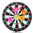 Darts with stickers depicting the life values isolated on white. The darts hit the target. — Stock Photo #11595514