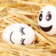 White eggs with funny faces in straw — Stock Photo #11597047