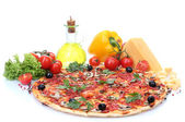 Delicious pizza and vegetables isolated on white — Stock Photo
