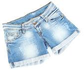 Women jeans shorts isolated on white background — Stock Photo