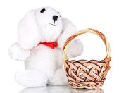White bunny with basket isolated on white — Stock Photo