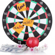 Stock Photo: Darts with stickers symbolizing love, health and money isolated on white