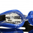 Blue swim goggles with drops isolated on white — Stock Photo