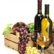 Barrel, bottles and glasses of wine and ripe grapes isolated on white — Stock Photo