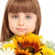 Portrait of beautiful little girl with flowers isolated on white — Stock Photo #11609510