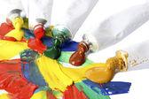 Abstrakte acrylfarbe und lack rohre isoliert auf weiss — Stockfoto
