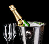 Bottle of champagne in bucket isolated on black — Stok fotoğraf