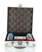 Poker i metalliska fall isolerade på vit bakgrund — Stockfoto