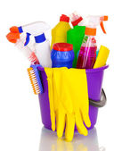 Cleaning items in bucket isolated on white — Stock Photo