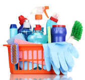Cleaning items in plastic basket isolated on white — Stock Photo