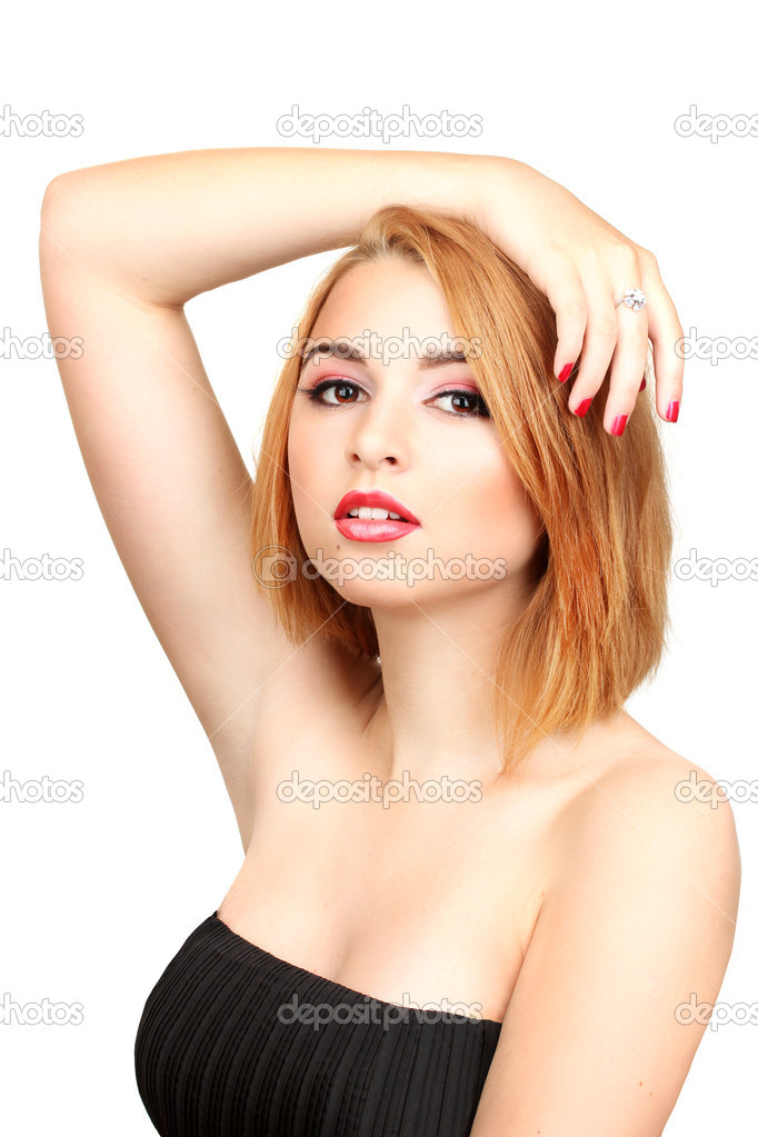 Portrait of sexy young woman with glamour make up and red manicure — Stock Photo #11600440