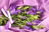Blue bell flowers on purple silk fabric — Stock Photo