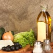 Ingredients for a Greek salad on canvas background close-up - Stock Photo