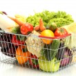 Fresh vegetables in metal basket isolated on white — Stock Photo #11652863