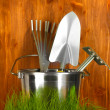 Garden tools on grass on wooden background close-up — Stock Photo