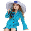 Portrait of funny little girl with sunglasses and hat isolated on white — Stock Photo #11655517