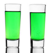 Two glasses of absinthe isolated on white — Zdjęcie stockowe