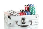 Poker set on a metallic case isolated on white background — Stock Photo