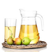 Duchess drink with pears on wicker mat isolated on white — Stock Photo