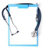 Stethoscope and blue clipboard isolated on white — Stock Photo
