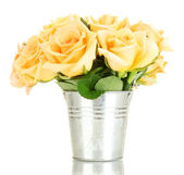 Beautiful bouquet of roses in bucket isolated on white — Stock Photo