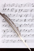 Musical notes and feather close-up — Stock Photo