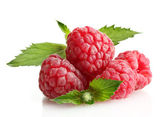 Ripe raspberries with mint isolated on white — Stock Photo