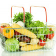 Fresh vegetables in metal basket isolated on white background - Stock Photo