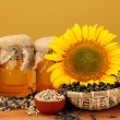 Sunflower oil and sunflower on yellow background — Photo