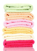 Colorful towels isolated on white — Foto Stock