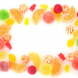 frame of colorful jelly candies isolated on white — Stock Photo