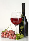 Bottle, glass of wine and ripe grapes isolated on white — Stock Photo