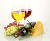 Bottle and glasses of wine, cheese and ripe grapes isolated on white — Stock Photo