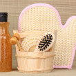 Bathroom set with scrub on bamboo background — Foto de Stock