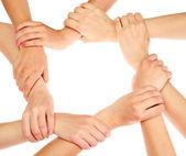 Gruppe von Youngs Händen isoliert auf weiss — Stockfoto