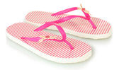 Pink beach shoes isolated on white — ストック写真