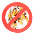 Cigarette butts with prohibition sign isolateed on white — Stock Photo