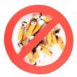 Cigarette butts with prohibition sign isolateed on white — Stock Photo #11759459