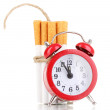 Cigarettes tied with rope and wick isolateed on white — Stock Photo