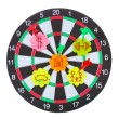 Darts with stickers depicting the life values isolated on white. The darts hit the target. — Stock Photo #11759752