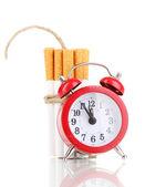 白のロープと芯 isolateed と結ばれるタバコ — ストック写真