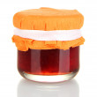 Jar with tasty jam isolated on white — Stock Photo #11760313