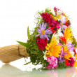 Stock Photo: Beautiful bouquet of bright wildflowers, isolated on white