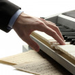 Hand of man playing piano — Foto Stock