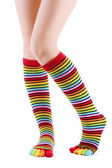 Female legs in colorful striped socks isolated on white — Stock Photo