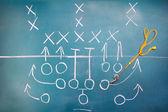 Amerikaanse voetbal plan op blackboard — Stockfoto
