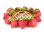 Tart garnished with strawberry isolated on white — Stock Photo