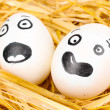 White eggs with funny faces in straw — Stock Photo #11788231