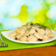 Delicious cooked dumplings in the dish on bright green background - Stock Photo